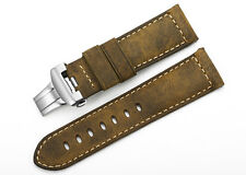 24mm Vintage Genuine Leather Watch Band Straps Steel Deployant Clasp For Panerai
