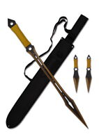 "27"" Hunting Ninja Sword Machete w/ Throwing Knife Blade Tactical Katana Knives 4"