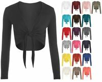NEW LADIES LONG SLEEVE TIE UP FRONT CROPPED SHRUG BOLERO CARDIGAN TOP UK 8-26