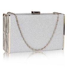 CLUTCH hand BAG silver 344 WEDDING chain glitter evening hard case purse
