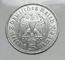 1935 Germany 2nd President Paul von Hindenburg Silver German 5 Marks Coin i64405