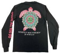 Simply Southern Turtle Love All That You Do Black Long Sleeve Shirt Top Womens S