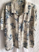 Washable SILK Batik Bay HAWAIIAN SHIRT EUC XXL Gray Blue Tropical Big Man Palms