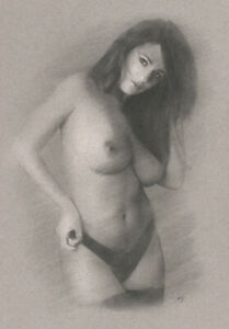 Nude Female DRAWING ORIGINAL Fine Art Charcoal partially naked woman NO RESERVE