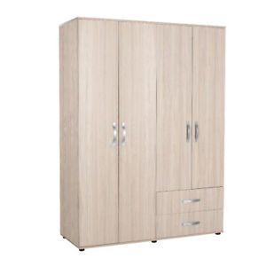 Adore - Modern Living - Oak Furniture 4 Door 2 Drawer Combi Wardrobe - Light Oak