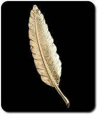Luxus XL Pins Brosche Blatt Goldfarben Pin Feder Vintage 10 cm