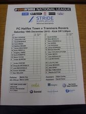 19/12/2015 Colour Teamsheet: FC Halifax Town v Tranmere Rovers (folded). Bobfran