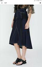 Acler Dark Indigo Denim Midi Skirt - Size 10