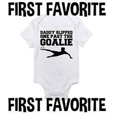 Daddy Slipped One Past The Goalie Soccer Baby Onesie Shirt Dad Newborn Gerber