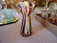 ART GLASS HAND BLOWN END OF DAY RIBBON GLASS VASE
