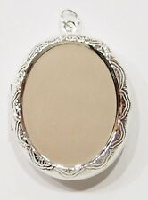 2 of 40x30 mm Silver Victorian Style Etched Locket Pendant Settings, Very Nice
