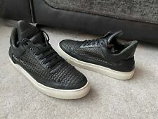 Filling Pieces black woven leather trainers, hand made in Portugal, EUR size 42