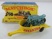 Lesney Matchbox Vintage 1967 #38 Honda Motorcycle & Trailer w/Box Regular wheels