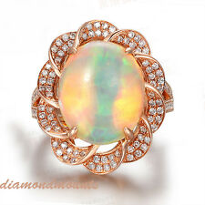 Flower 18k Solid Rose Gold Natural Colorful Oval Opal Diamond Engagement Ring