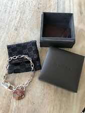 Gucci Womens Sterling Silver Link Chain Round Charm Bracelet