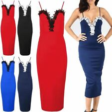 Ladies Cami Strappy Womens Crochet Lace Bandage Party Evening Bodycon Midi Dress
