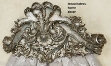 ORNATE ANTIQUE SILVER BED CROWN WALL CANOPY FRENCH REGENCY VINTAGE STYLE NEW