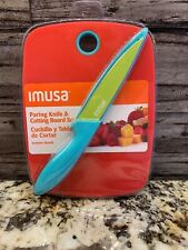 IMusa cuchillo & Tablero De Corte Set-Verde Azul Y Naranja