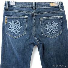Paige 28 Premium Blue Embroidery Denim Low Rise Jeans Laurel Canyon Boot 30X30