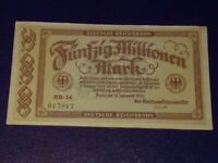 GERMANY - 50 MILLION MARK RAIL BANKNOTE 1923-INFLATION - VERY FINE