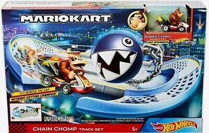 Hot Wheels Mario Kart CHAIN CHOMP Track Set w Donkey Kong Standard Car