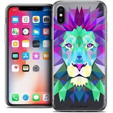 Coque Housse Etui Pour iPhone X (10) Polygon Animal Souple Fin Lion