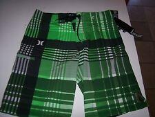 New HURLEY green plaid board shorts swim PHANTOM 4 way stretch 30 31 32 33