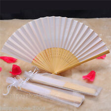 50pcs Elegant White Folding Silk Hand Fan with Gift bag Wedding Party Favors