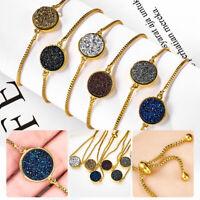 Fashion Women Crystal Gold Plated Statement Bangle Bracelet Adjustable Chain