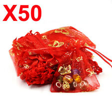 50 MEDIUM red butterfly organza gift candy bags jewellery favour pouches wrap