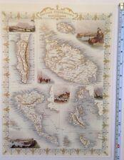 """Antique Historic map 1800s: British Possessions In Mediterranean 13 X 9"""" Reprint"""