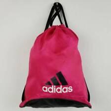 Adidas Unisex Drawstring Backpack Red Black Logo 2 Straps Fabric Gym Travel Bag