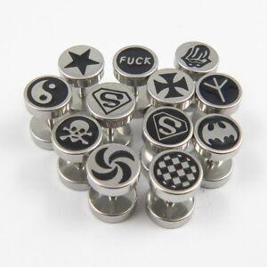 Wholesale 10pairs Mens Solid 316L Stainless Steel Sliver Black Stud Earrings