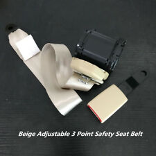 Beige 3 Point Seat Belt Lap & Diagonal Belt For All Cars Bus Truck Adjustable