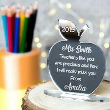 Personalised Best Teacher Gift Mirror Plaque Teacher Nursery Apple Freestanding