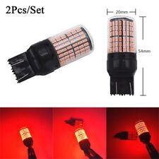 2Pcs T20 7443 3014 144SMD Red LED Canbus Tail Brake Flash Strobe Stop Light Bulb