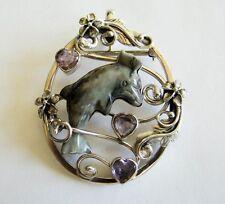 Sterling Silver Genuine Agate & Amethsyt Brooch Pin Pendant