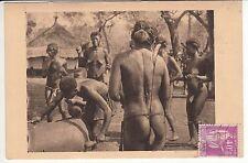 CARTE POSTALE AFRIQUE PIN UP FEMME NU NUE OUBANGUI CHARI FEMME AU TAM TAM