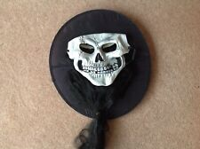 Long Hair & Hat Deluxe Skull Skeleton Mask Horror Halloween