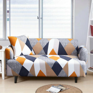 1/2/3/4 Seater Printed Couch Cover Stretch Spandex Sofa Slipcover Anti-dust