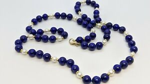 "Tiffany & Co. 14K Yellow Gold 8mm Lapis Lazuli & Pearl Necklace - 27.5"" Long"