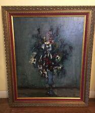 Vintage Jacques Voyet Oil Painting Framed Art Flowers Vase Signed Decor France