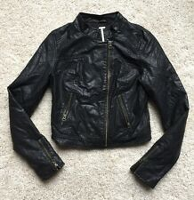 Black Quilted Arms Faux Leather  Moto Jacket By Free People Size 2