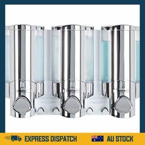 Premium Three Chamber Soap Shampoo Body Wash Dispenser, Chrome -Hotel -  AU