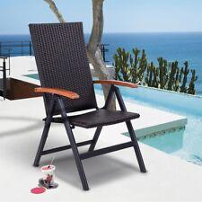 Patio Rattan Wicker Aluminum Folding Beach Pool Recliner Chair Chaise Furniture