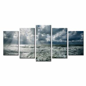 5pcs Home Wall Art Decor Sea Wave Picture Canvas Oil Painting Print Art No Frame