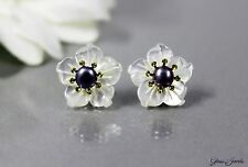 Glass Jewels 925 Sterling Silber Ohrringe Ohrstecker Blüte Perlmutt Perle #AS024