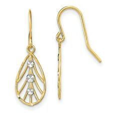 Small Teardrop Wire Earrings In Real 14k Yellow Two Tone Gold 0.93gr