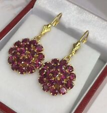 14k Solid Yellow Gold Leverback Cluster Dangle Earrings, Natural Amethyst