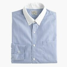 J crew Large Slim White-collar shirt in banker stripe Blue New With Tags
